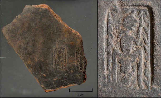 Fig.1. The birthing stamp (inv. PC 11-003), found on a bucchero fragment, measures just around a centimeter in height and is worn, requiring magnification and raking light to study its imagery. [Photos courtesy of Dr. Phil Perkins, The Open University].