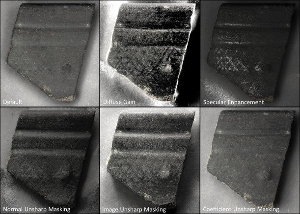 "Fig. 7. A bucchero sherd (inv. PC 14-062) with reticulate burnishing, nearly invisible under even light (note the 'Default' image). Modes like 'Normal Unsharp Masking' can reveal the very subtle, recessed burnishing marks, and others like ""Diffuse Gain' can contrast them."