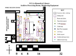 Map showing one of the spaces monitored in the course this fall (the archives processing room of UCLA's Biomedical Enigineering Libary) and the types and locations of environmental monitoring equipment deployed (map by Heather White)